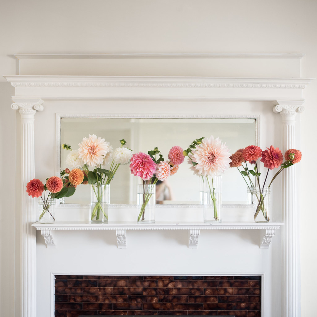 Dahlias on the mantle on juliettelaura.blogspot.com