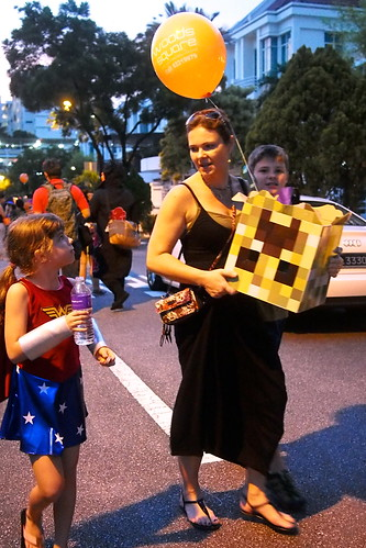 Minecraft head. Halloween 2016 at Woodgrove, Woodlands, Singapore
