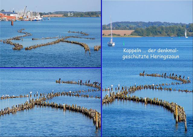 Kappeln am Ostseefjord Schlei ... Schlei-Brücke, Heringszaun, Hafen, Museumshafen, Dampfeisenbahn, Fischrestaurant, Schiffe ... Fotos und Collagen: Brigitte Stolle 2016