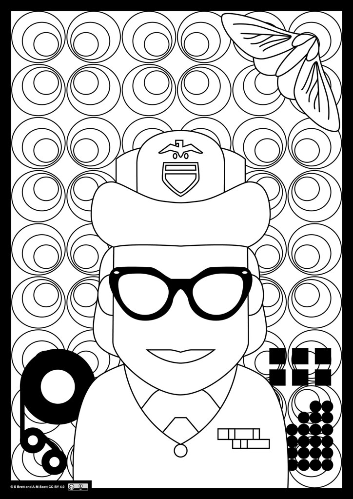 Grace hopper adult colouring in illustration a0 png Virtual coloring book for adults