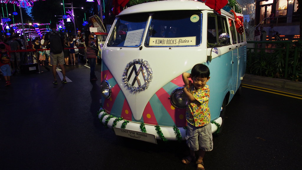 Asher having fun posing in front of a retro VW van, which doubled as a Christmas prop.