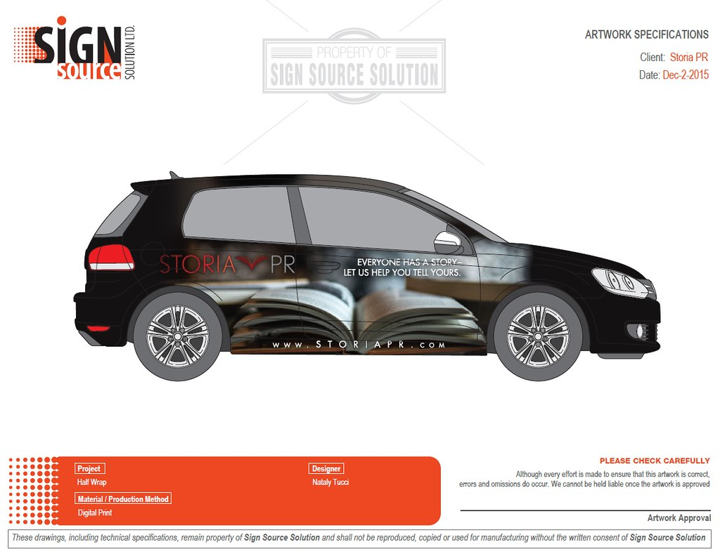Storia PR - vehicle wrap on Volkswagon
