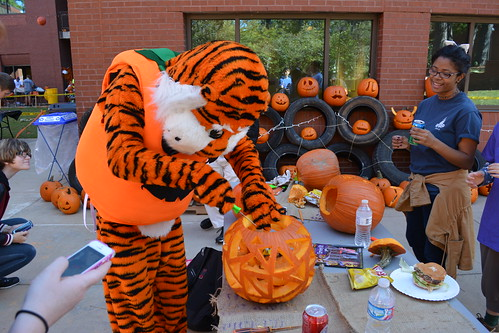 Aubie carves a pumpkin at last year's Pumpkin Carve event.