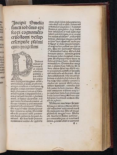 Johannes Chrysostomus: Homiliae super psalmum L:  Miserere mei Deus et Epistolas S. Pauli - Incipit title and woodcut initial