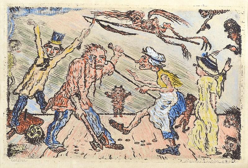 James Ensor - Anger (La Colère) from The Deadly Sins (Les Péchés capitaux) colored, 1904