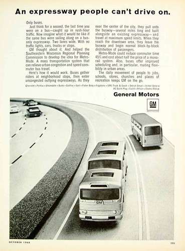 General Motors bus ad from 1968 promotes an early form of bus rapid transit