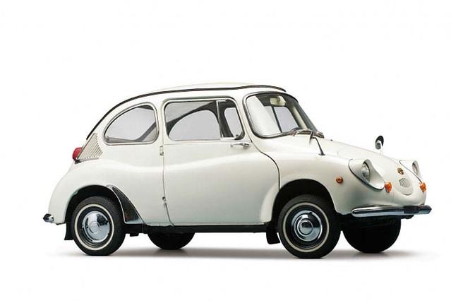 The Subaru 360, a boxer, aircooled, rear engined, Japanese, Beetle-like vehicle.