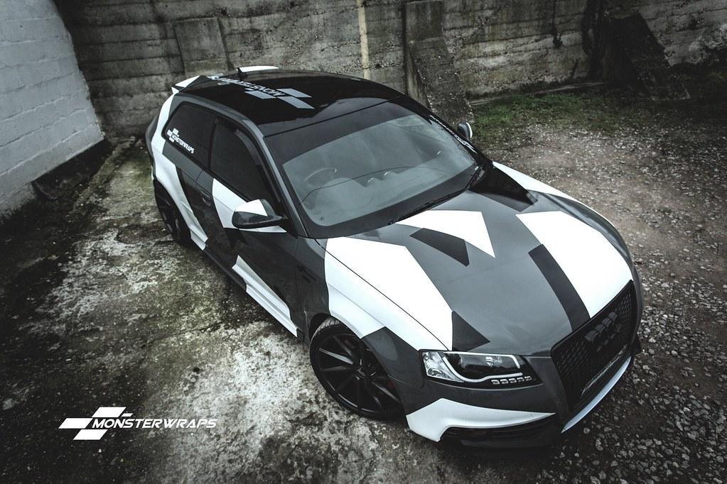 Audi A3 Camo Wrap On Stealth Grey Base Audi A3 Camo Wrap