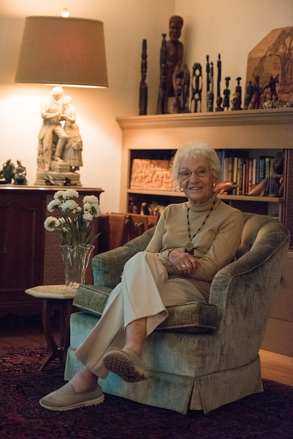 Ruth Colvin sits in her home, which displays many treasures from her volunteer visit to 26 developing countries. | Tony Curtis, Staff Photo