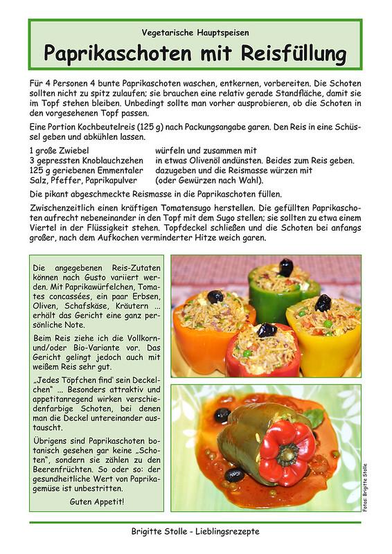 Kunterbunt und farbenfroh essen ... Rezept: Gefüllte Paprikaschoten mit Reis ... vegetarisches Hauptgericht ... Fotos und Collagen: Brigitte Stolle 2016