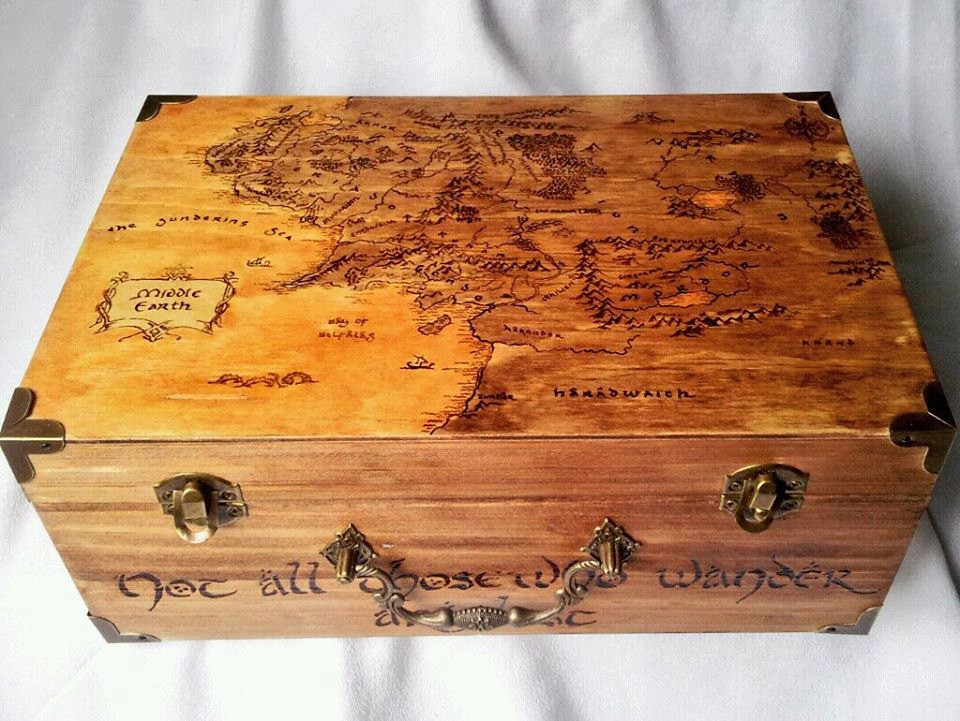 Lord of the Rings woodburned keepsake box by Kathleen Kaderabek