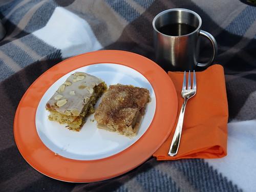 Möhrenkuchen und Apfelkuchen (vom Stand des Wieruper Hofes auf dem Osnabrücker Wochenmarkt) beim Picknick an unserer Lieblingskastanie
