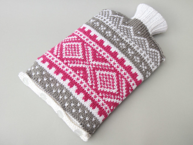 Hand knit Norwegian style hot water bottle cosy – pink & grey