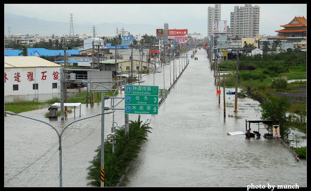 豪雨後的屏東大淹水。