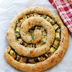 Twisted Buttermilk and Flax Seed Focaccia with zucchini