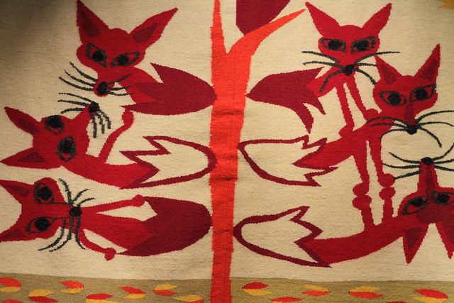 Foxes tapestry from Fashion & Fabric exhibition at Design Museum Denmark
