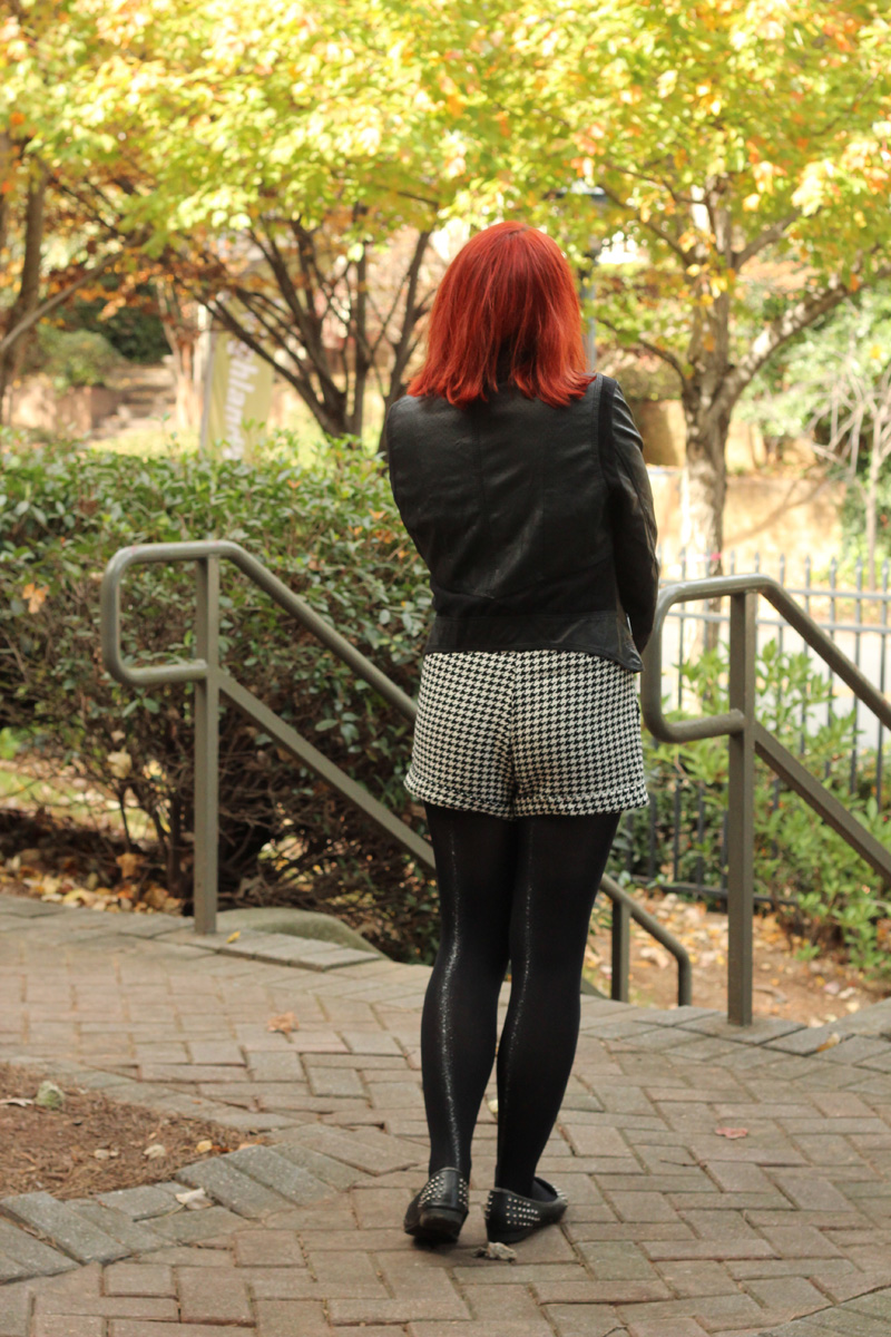 Black Glitter Back Seam Tights, Leather Jacket, and Houndstooth Shorts