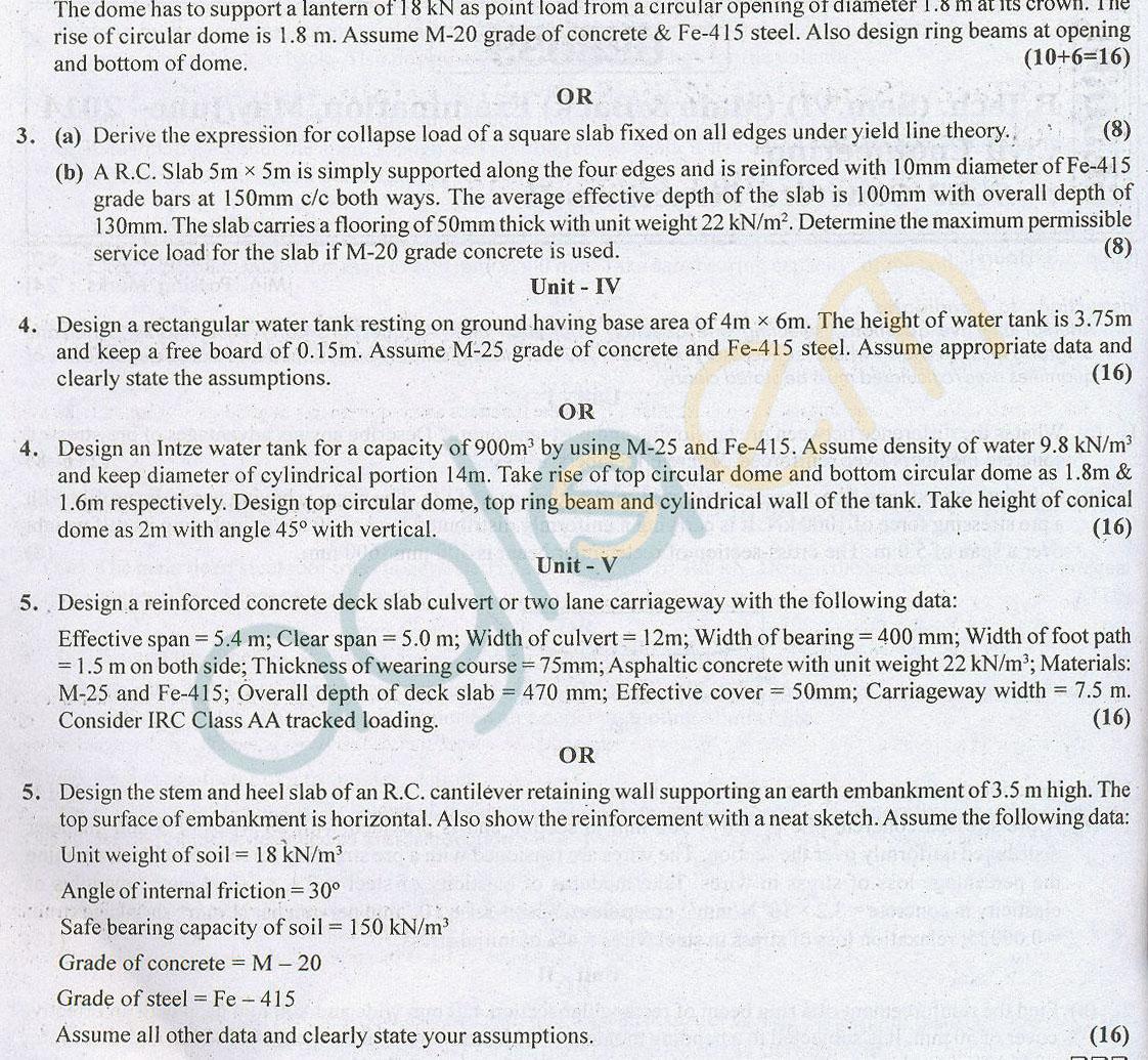 RTU: Question Papers 2014 – 6 Semester - CE - 6E3033