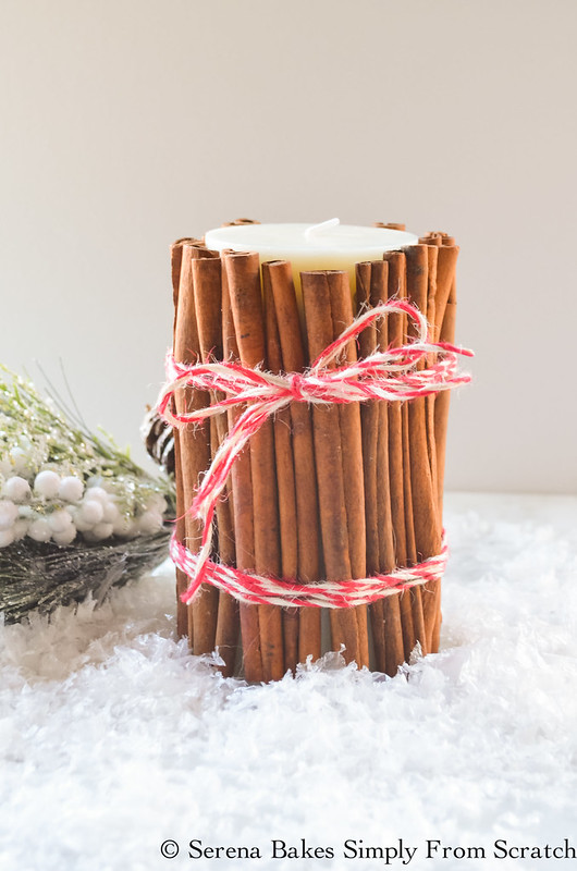 Holiday Gift Basket Ideas with these Homemade Cinnamon Wrapped Candle! So fun and an easy to make Christmas gift! serenabakessimplyfromscratch.com