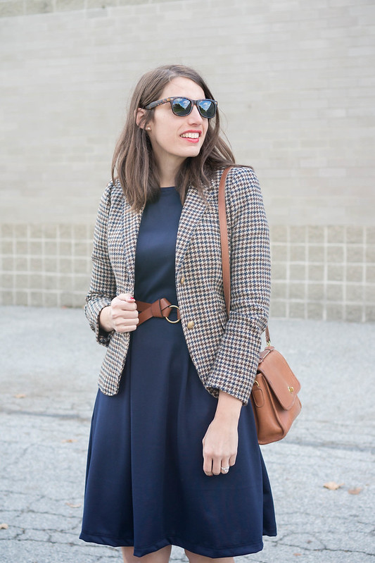 navy fit and flare dress + plaid J.Crew blazer + loafer heels + cognac knot belt + cognac tan purse; fall work outfit | Style On Target blog