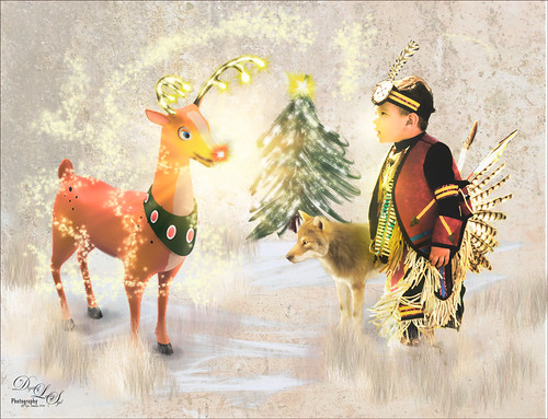 Composite image of Rudolph the Raindeer and a Native American little boy