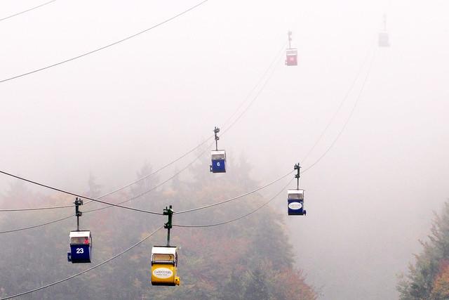 Hohenaschau Kampenwand Kampenwandseilbahn Wetter Sonne Nebel Hochnebelglocke Regen Sauwetter mistiges Bluathitzn verreckte Foto Brigitte Stolle Oktober 2015