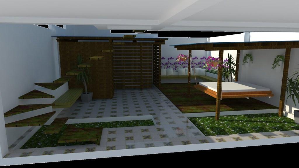 Jardin Exterior Render Sketchup Vray Victor Hernandez