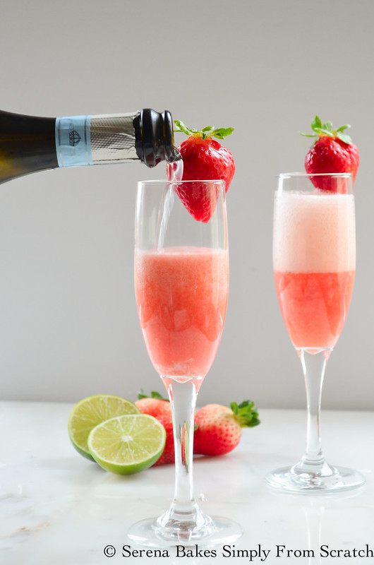 Strawberry Champagne is a fun cocktail perfect for any occasion! serenabakessimplyfromscratch.com