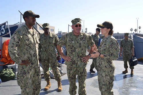 SAN DIEGO - Rear Ad. Daniel H. Fillon, commander, Expeditionary Strike Group (ESG) 3, visits Assault Craft Unit (ACU) 1 to discuss an upcoming inspection and survey (INSURV) assessment on an ACU1 landing craft.