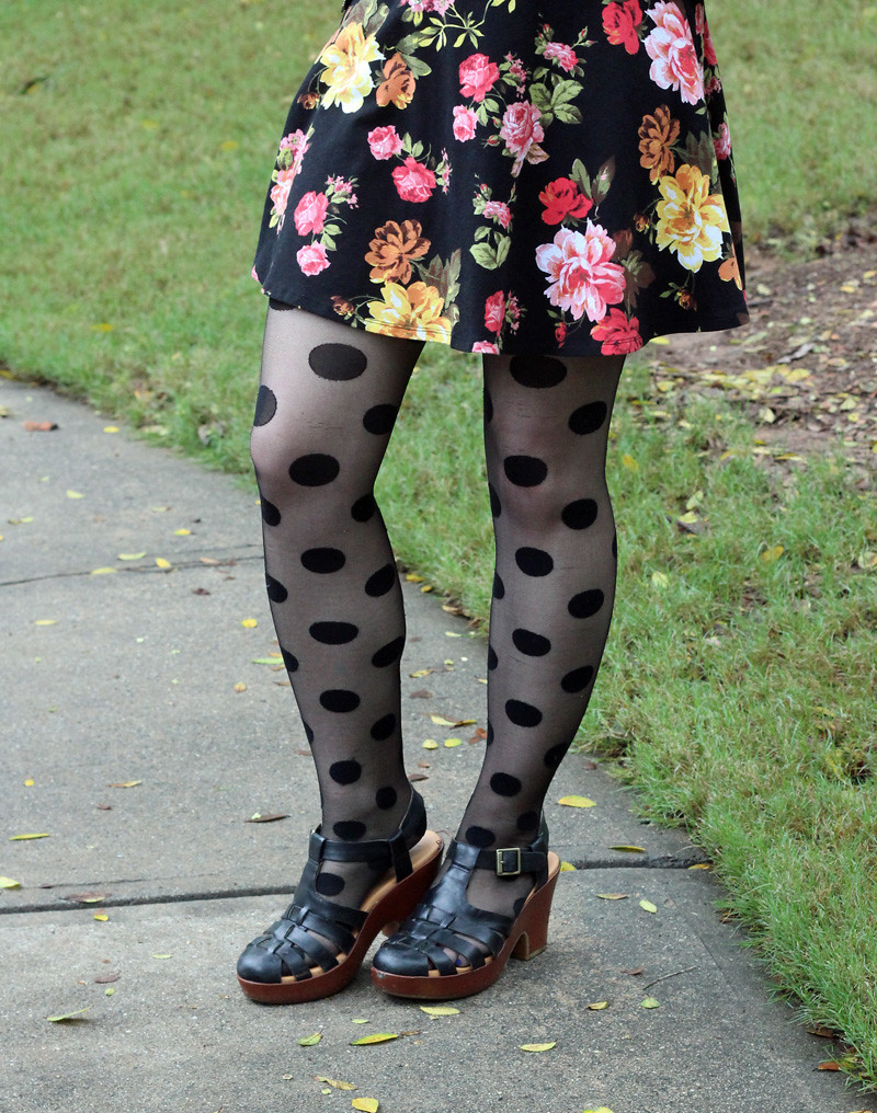 Giant Polka Dot Tights, Black Fisherman Sandal Heels, Dark Floral Print Dress