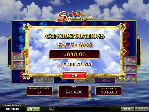 free Sinbad's Golden Voyage free spins prize