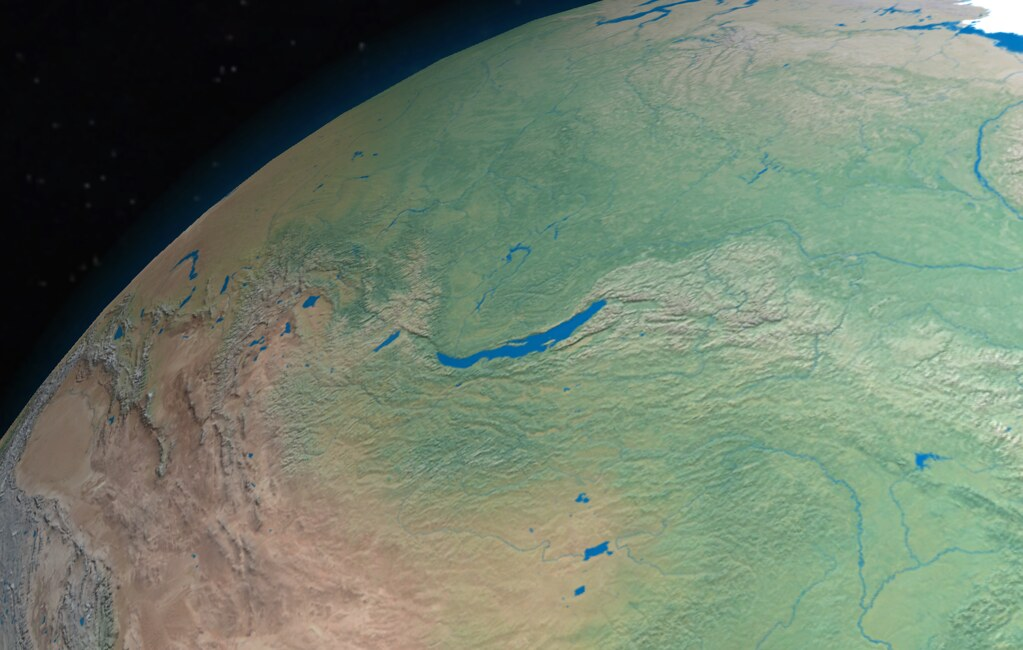 Lake Baikal from space | Digital rendering of the ...