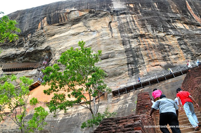Climbing up the Sigiriya Lion Rock
