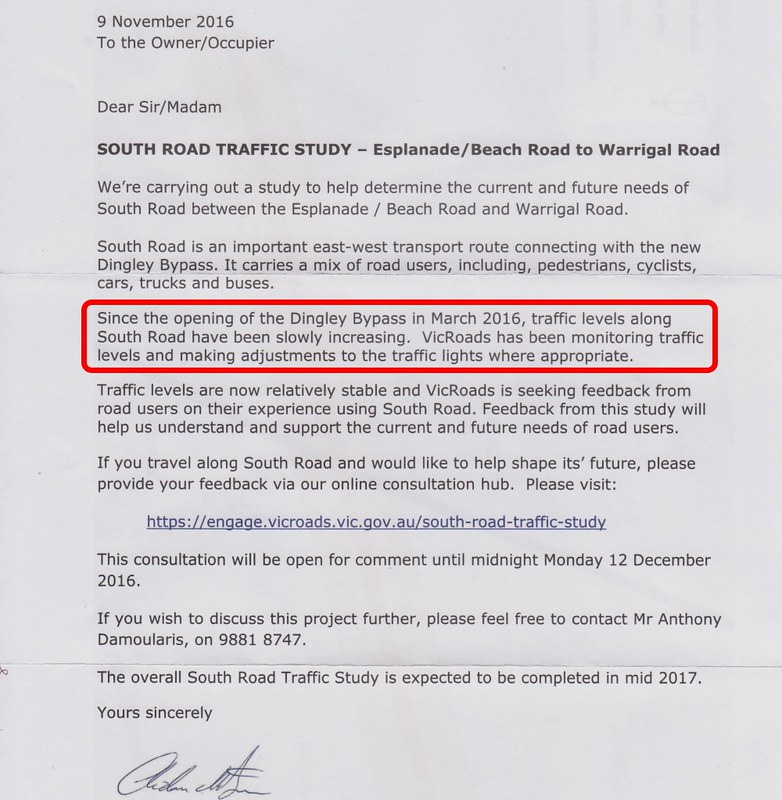 Vicroads: South Road traffic study