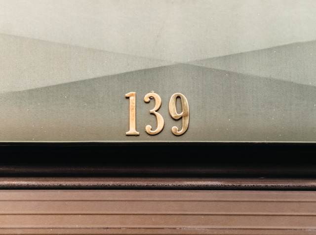 number 139 on garage door