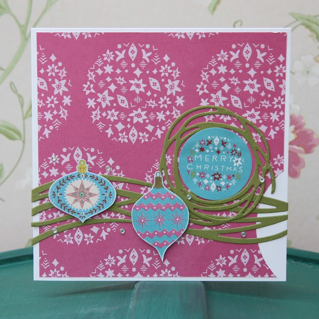 Docrafts Folk Christmas card - hot pink xmas card made by StickerKitten. Features Stampin' Up Swirly Scribbles Thinlits Dies