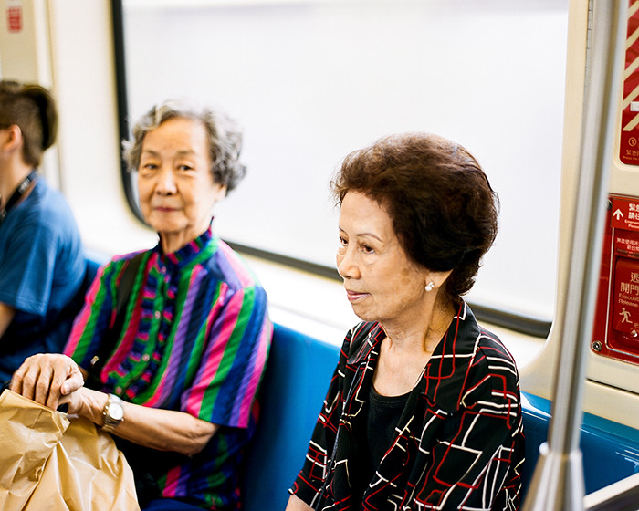 © 2016. Grandma on the subway out of Neihu Station. Tuesday, Sept. 6, 2016. Portra 400+1, Pentax 6x7.