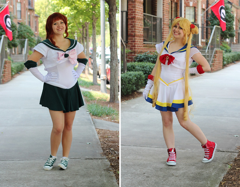 Handmade Sailor Jupiter and Super Sailor Moon Costumes