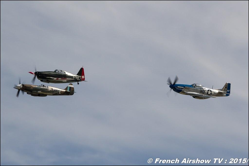 Morane Saulnier MS.406 ,J-143 ,P-51 Mustang F. AKARY , F-AZXS , Supermarine 389 Spitfire MkXIX - F-AZJS , Feria de l'air nimes garons 2015, Meeting Aerien 2015