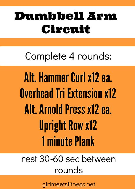 Dumbbell Arm Circuit workout - girlmeetsfitness.net