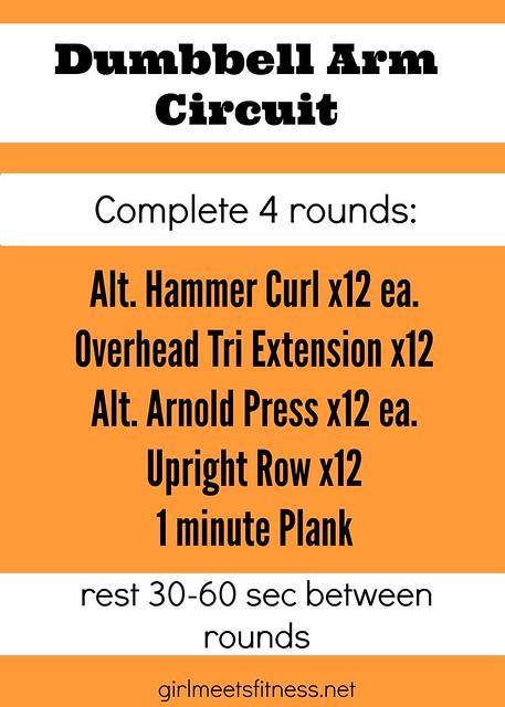 Dumbbell Arm Circuit workout - girlmeetsfitness.net