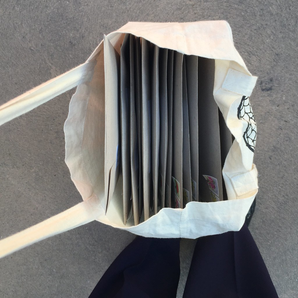a bag full of mail to be posted