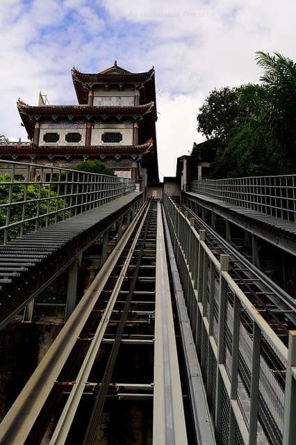 Taking the inclined lift to the hilltop