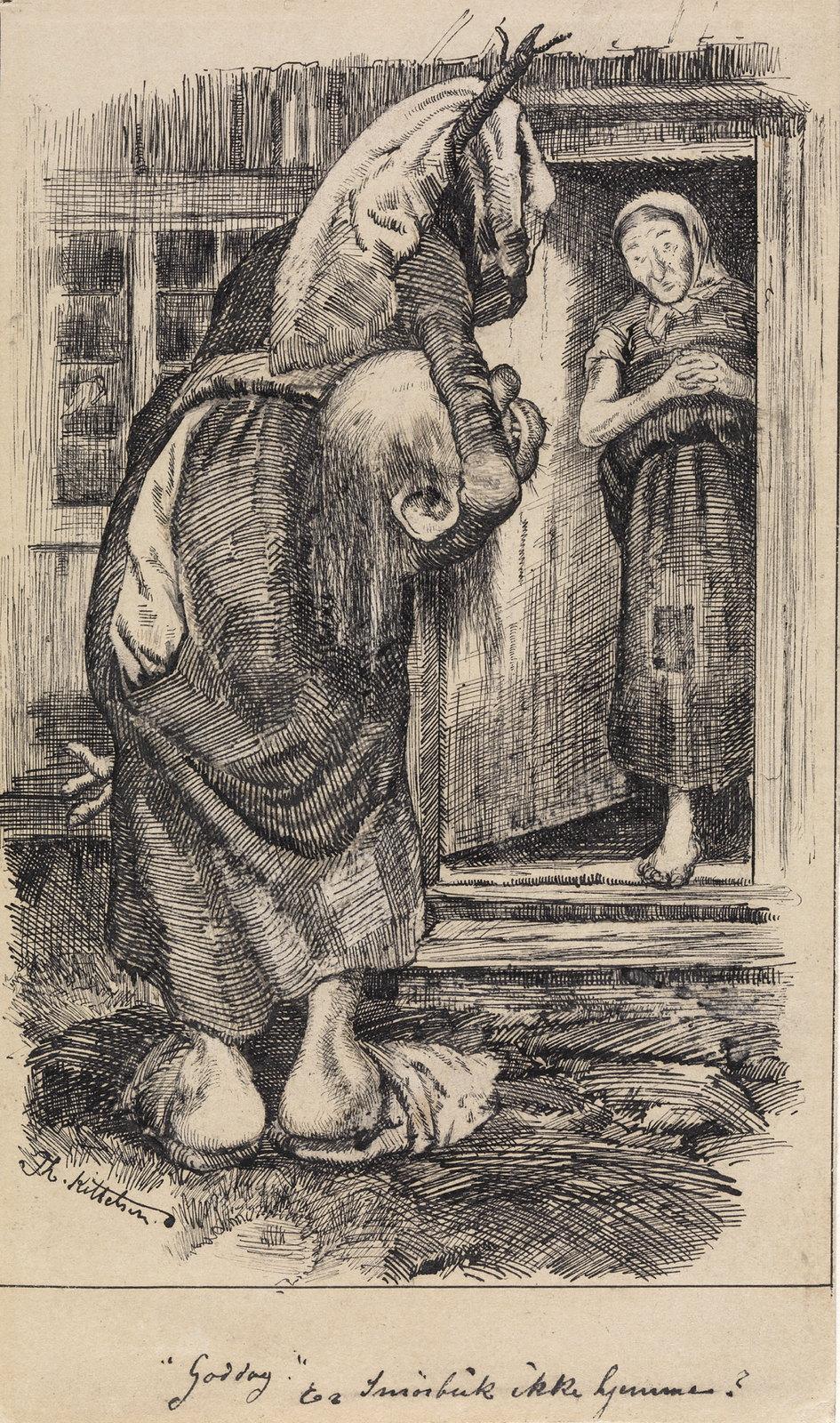 """Theodor Kittelsen - """" Is not Butterball at home today ? """" troll saidTo """" Smørbuk """" , P. Chr. Asbjørnsen and J. Moe, Eventyrbog for Børn . Norwegian Folkeeventyr , Copenhagen 1883"""