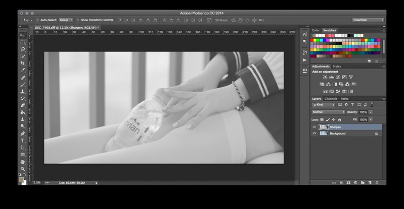 Background layer being duplicated and converted to black and white