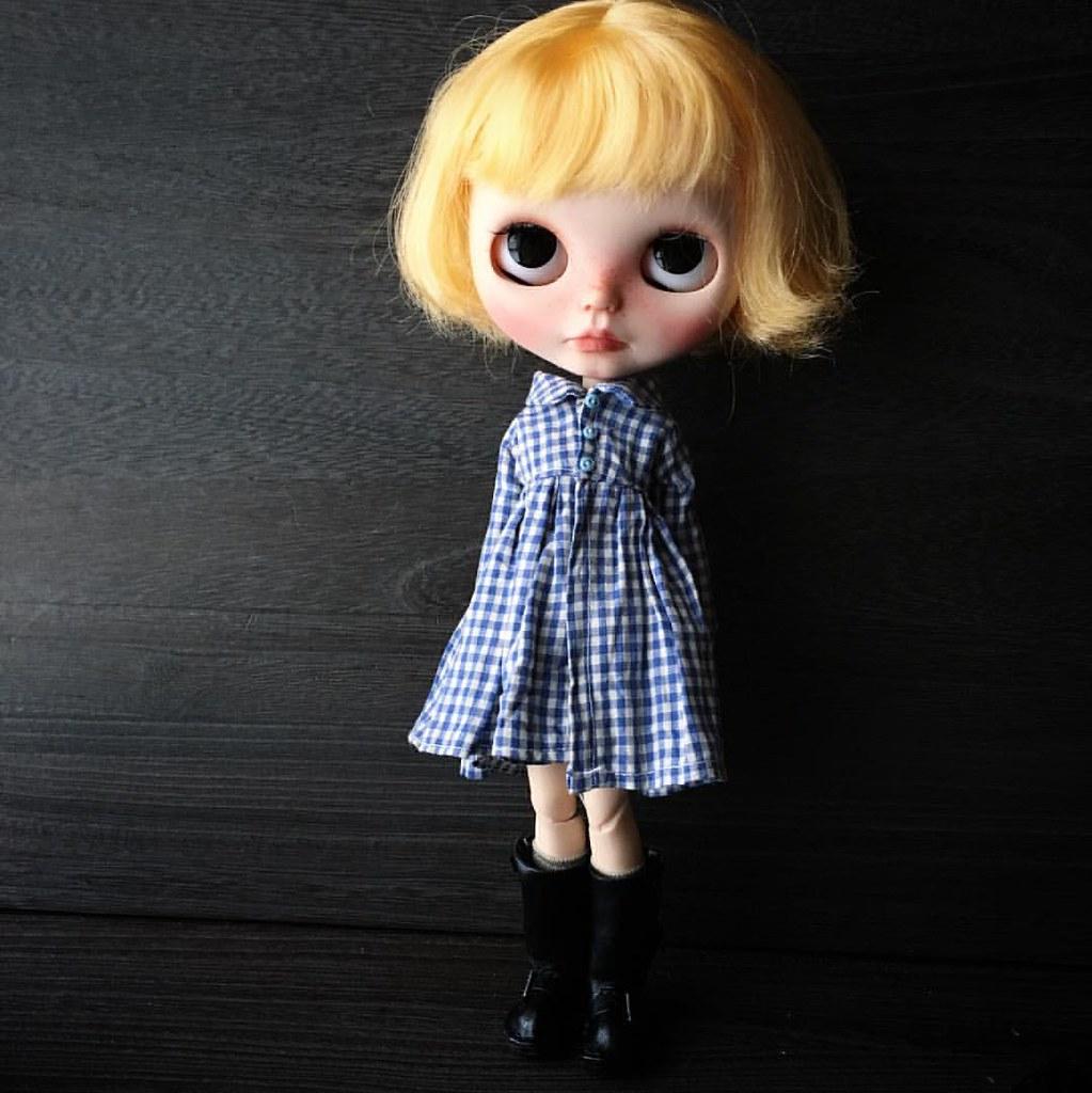 Check print dress #blythedoll #customblythedoll #ooakblyth ...