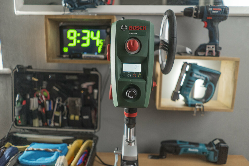 bosch pbd 40 bench drill press in my mini workshop area flickr. Black Bedroom Furniture Sets. Home Design Ideas