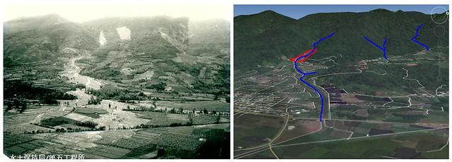 左圖:1973年娜拉颱風期間,發生在台東知本建和(射馬干社區)的土石流災害。資料來源:水土保持局第五工程所。 右:射馬干社區目前的土石流潛勢區域(紅色)。資料來源:水土保持局。