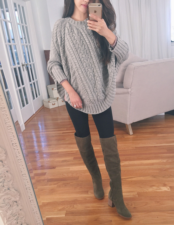 fall casual outfit anthropologie poncho sweater tall boots