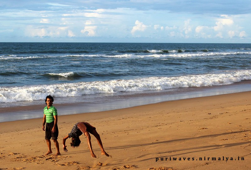 Gymnastic Practicing at Puri Sea Beach